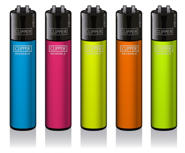 Clipper Classic MEDIUM Feuerzeug Solid Fluo Branded *NEUES FORMAT*